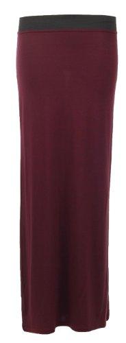 Fast Fashion Damen Elastischer Viskose Jersey Strertchy Zigeuner Maxi Rock Wine