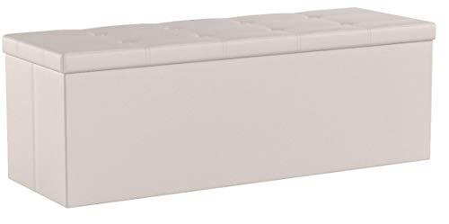 songmics cassapanca 120 litri, pouf contenitore ottomane e poggiapiedi 110 x 38 x 38 cm, beige lsf70m