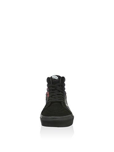 Vansu Sk8-hi Reissue Leather - Baskets Basses Sport Unisexes - Noir Adulte (schwarz - Fleur Noire)