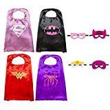 Kiddo Care Super hero Capes, Masques, Satin (Filles) (4 jeux - Super Girl, Spider Girl, Bat Girl, Wonder