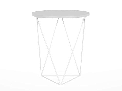 Delamaison Table d'appoint Design en Bois et Pieds Triangle métal Filaire
