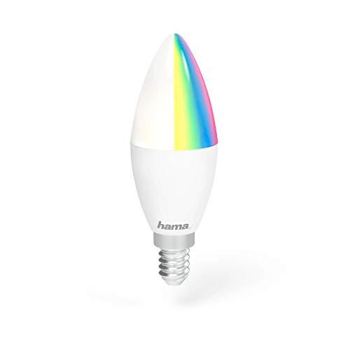Hama E14 Wi-Fi LED-Lampe, Kerzenform, 4,5W (ohne Hub, dimmbar, gesteuert via Alexa/Google Home/App/IFTTT, 2,4GHz, 2700K/warmweiß/RGB) WLAN Lampe, Echo/Echo Dot/Echo Spot/Echo Plus/Echo Show kompatibel