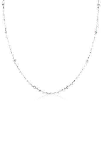 Elli Damen Echtschmuck Halskette Solitär Basic mit Swarovski Kristallen in 925 Sterling Silber Länge 45 cm