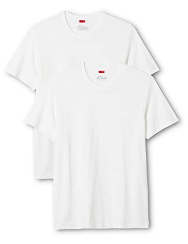 s.Oliver Herren T-Shirt  im Doppelpack, Gr. Large, Weiß (WHITE 0100)