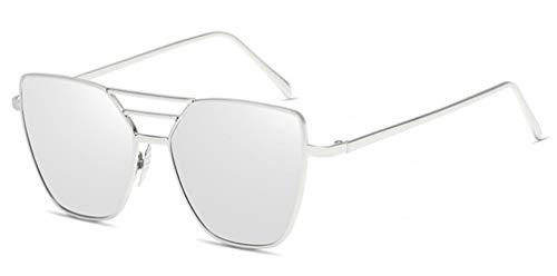 AGGIEYOU Frauen Sonnenbrillen Männer Beschichtung Vintage Spiegel Platz Flachbildschirm Objektiv Sonnenbrille, Silber