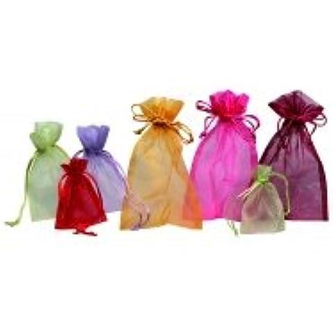 Comptoir de l 'Emballage–Bolsas Organza–formato 9x12cm–oro–Enlace deslizante–Lote de