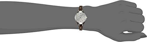 Fossil Georgia Damenuhr silber / Analoge Vintage Armbanduhr im Boyfriend-Stil - großes Ziffernblatt & schmales, braunes Lederband - 5