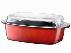 Silit Energy Red Bräter mit Glasdeckel 39x22x15 cm, Silargan Funktionskeramik, induktionsgeeignet, spülmaschinenegeeignet, rot, 5,3l