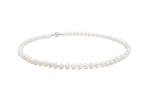 PearlsNature Perlen-Kette weiß | echtes Silber 925 | Damen-Halskette | echte Süßwasser-Zuchtperlen | 9 bis 10mm | Perlen-Collier für Alltag & Anlässe