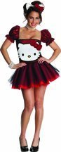 Damen Kostüm Hello Kitty Red Glitter Haarreif Karneval -