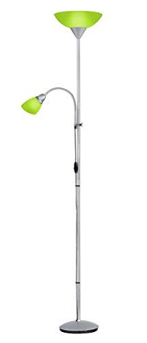 Khl Led Deckenfluter Blake grün mit Leselampe E27 / E14 titanfarbig Kunststoff 7W / 4W schaltbar