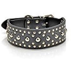 Zantec Pet Kingdom 18-24`` cuero tachonado collar de perro grande 4 colores 3 tamaño collar de mascota (negro, medio)