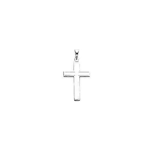14K Weiß Gold Latein Kreuz Anhänger