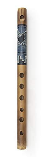 Huasacca Flöte aus Bambus mit Motiv Holzflöte Fair Trade