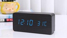 Leiter Gerahmt (OLILEIOWecker Alarm kreative Holz- Schlafzimmer ruhige Nacht führte der Leiter der Photonik Clock, gerahmt in Blau Holz- + Stecker)