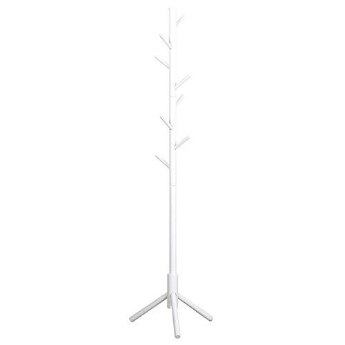 Hall Tree Set (Barture Kleiderablage, Holz Kleiderständer, Hall Tree Kleiderbügel, Mit 8-Haken Und Stativfuß, Für Jacke Kleider Schals Geldbörse (Color : White))