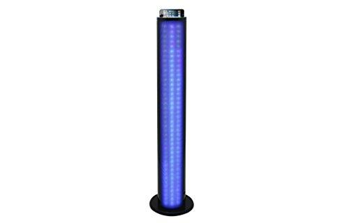 Lenco Lautsprecher BTL-450 Tower mit Blitz und Bluetooth (Fernbedienung, PLL FM Radio, USB, SD, 60 Watt Ausgangsleistung, Subwoofer, Aux-Eingang) Schwarz