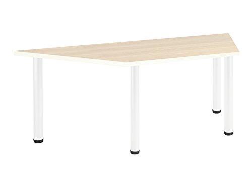 Eliza Tinsley Furniture T-Mod/1600T/WM 1600mm Trapezform Ahorn Versa Tisch mit Rahmen weiß -