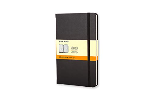 Moleskine Notebook Classic Pagina a Righe, Taccuino Copertina Rigida e Chiusura ad Elastico, Nero,  9 x 14 cm, 192 Pagine