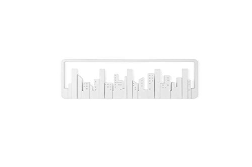 Dream Hogar Perchero de Pared Decorativo Skyline 5 Ganchos Blanco 49,5x14,5x3cm