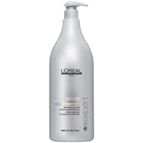 L 'Oreal Professionnel Serie EXPERT Silver Champú (1500ML) and pump