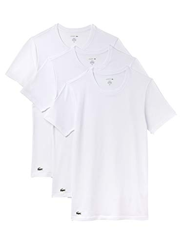 Lacoste-crew-t-shirt (Lacoste Crew Neck T-Shirt 3er Pack Slim Fit Weiss, M)