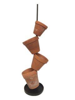 Long Tom Blumenständer, Blumenregal, Blumentreppe, Regal Metall schwarz, Blumensäule Metall Pflanzer, Maße 1,00 bis 1,10 m für verschiedene Größen Topfpflanzen Keramiktöpfe