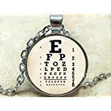 Vintage Eye Chart Art Anhänger, Eye Chart Halskette, sehprobentafeln Halskette, Eye Chart, Vision, Test Anhänger, Augenheilkunde -