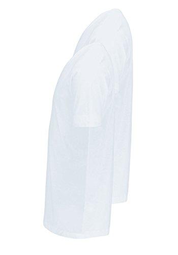 OLYMP Herren T-Shirt Doppelpack V-Ausschnitt Weiß
