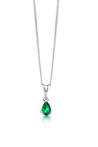 Miore - Collier Femme - Or Blanc 9 Cts 375/1000 Emeraude