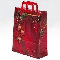 25 kleine Weihnachts - Papiertragetaschen (29 x 22 x 10 cm) mit Weihnachtskugeln Motiv