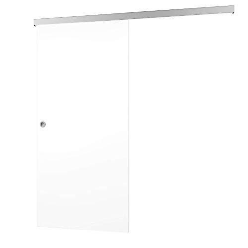 inova Schiebetür aus Holz 75 x 203 cm weiß matt Alu Komplett-Set mit Laufschiene und Griff-Muschel für Wohnzimmer (Schiebe-scheunentor Kit Innen)