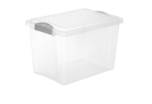 Rotho Aufbewahrungsbox COMPACT mit Deckel, Lager Kiste transparent aus Kunststoff im DIN A4 Format, Inhalt 19 Liter, Plastikbox ca. 39,5 x 27,5 x 27 cm