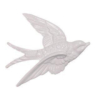 Wanddekoration Fliegende Schwalben, Keramik, Vintage-Stil, Weiß, 3 Stück weiß