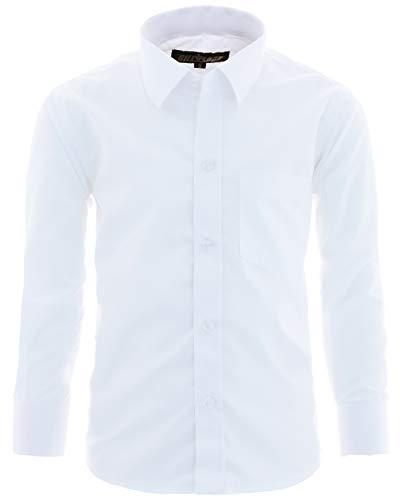 GILLSONZ GA1 vDa Kinder Party Hemd Freizeit Hemd bügelleicht Lange Arm mit 9 Farben Gr.86-158 (164/170, Weiß)