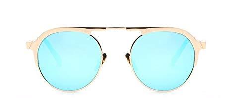 ZJMIYJ Sonnenbrillen Italien Designer Sonnenbrille Frauen Super Light Flex Metall Spiegel Oval Sonnenbrillen für Lady Blue