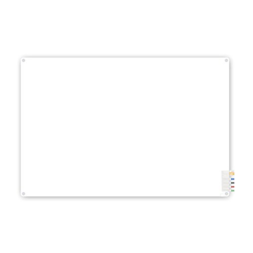 Ghent 3'x4' Harmony Frosted Glass Board - Radius Corners - 4 Markers and Eraser - Made in the USA by Ghent (Corner 4')