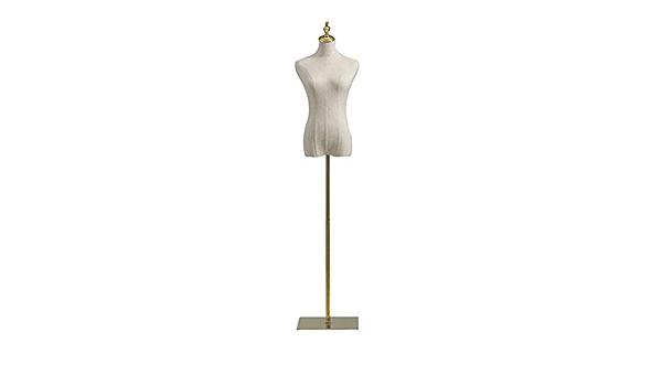 HAIPENG-mannequins Buste De Couture Femme Forme De Robe Corps avec M/étal Base Supporter pour V/êtements Robe Bijoux Afficher 3 Couleurs Color : Gold, Size : S