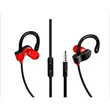 eDog Ohrbügel Kopfhörer mit Ohr Clips, Workout in-Ear und integrierter Fernbedienung und Mikrofon für Sport Running Gym Workout kompatibel für iPhone Samsung HTC LG (rot), rot - Training-bewegung Apple Pro