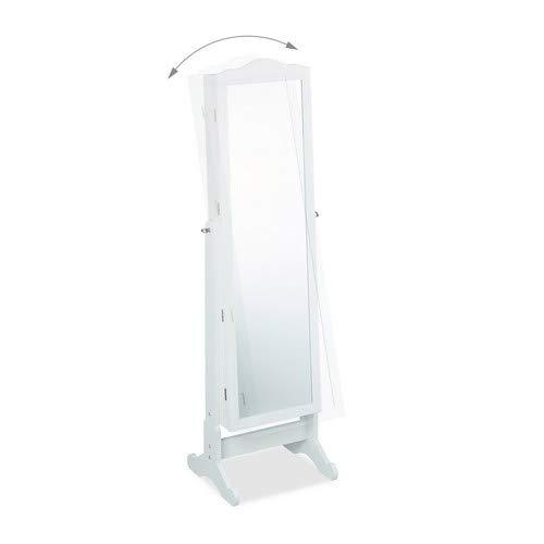 Relaxdays Schmuckschrank Spiegel zum Stellen – abschließbar – Spiegelschrank LED – weiß - 2