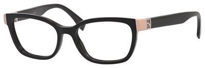 Original new fendi ff 0130 29a shiny black frame cat eye eyeglasses 51
