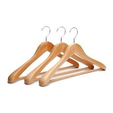 MagnusDeal® Set Of 3 Wooden Hanger premium Quality: Solid Wooden Suit Hangers/Wooden Men Hangers, Wood Clothes Hangers with Chrome Hooks - Vintage Style (Non-slip bar.Notches)