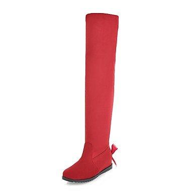 Bottes pour femmes Bottes Mode Slouch Boots Automne Hiver cuir Nubuck Spandex Fleece Casual Party & Talon Soirée Bowknot rouge brun, rouge, US8 / EU39 / UK6 /