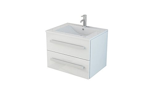 Jet-Line Badset Arosa II Waschbecken Waschtisch Badmöbel Soft Close Hochglanz Schwarz, Weiß oder Grau (Weiß)