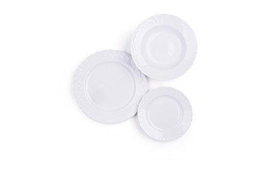 Excelsa elisa rococò servizio piatti 18 pezzi, porcellana, bianco