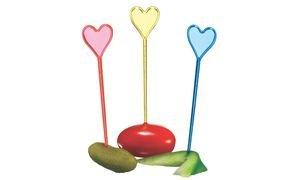 Susy tarjeta 11144490 - Partypicker, corazón de plástico con cabeza, 90 piezas , Modelos/colores Surtidos, 1 Unidad