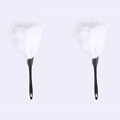 Nikou Staubwedel - 5 Farben weiche Truthahnfeder Staubwedelbürste mit schwarzem Griff Wohnmöbel Auto Reinigungswerkzeuge Feine mikrofaser (Farbe : Weiß)