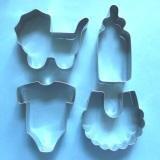 Lawman 4x Baby Thema Flasche Lätzchen Einteiler Kinderwagen Fondant Teig Biscuit Cookie Cutter Set