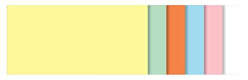 Sigel MU100 Moderationskarten rechteckig, 6 Farben sortiert (gelb, grün, orange, blau, rosa, weiß), 10x20 cm, 250 Stück
