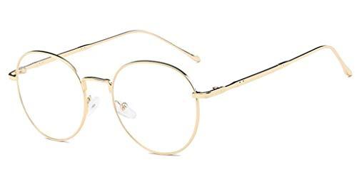 NAVARCH Mode Unisex Brille Silber Schwarz Gold Brille Runde Metall Brillen Damen Herren Klare Linse Vintage Brille Brillengestelle Rund Rahmen Glasses Klare Linse Brille